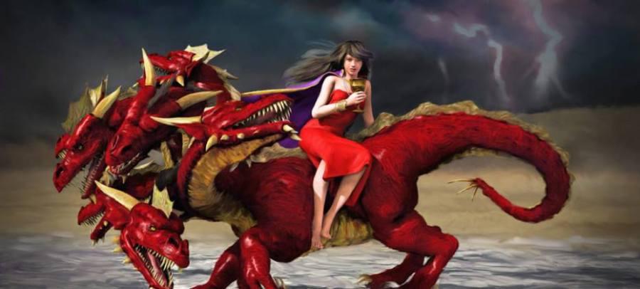 woman on scarlot beast